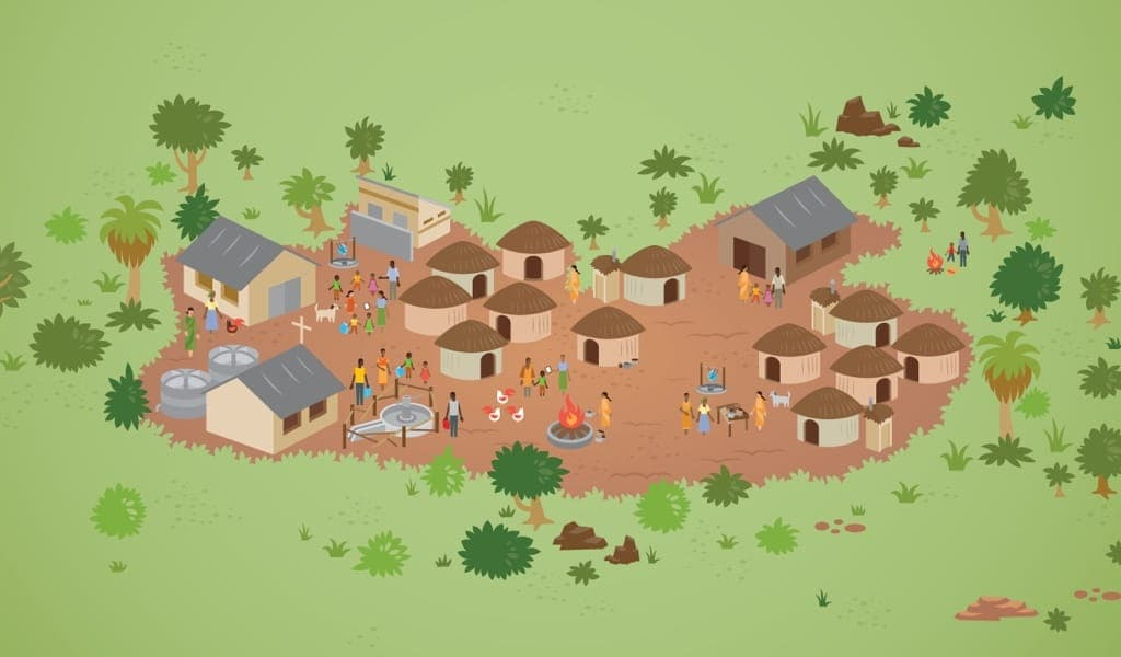 Healthy Village Illustration