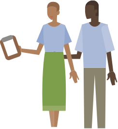 Illustration of a man and woman looking at a clipboard