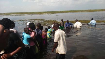Christian water ministry baptisms in Uganda